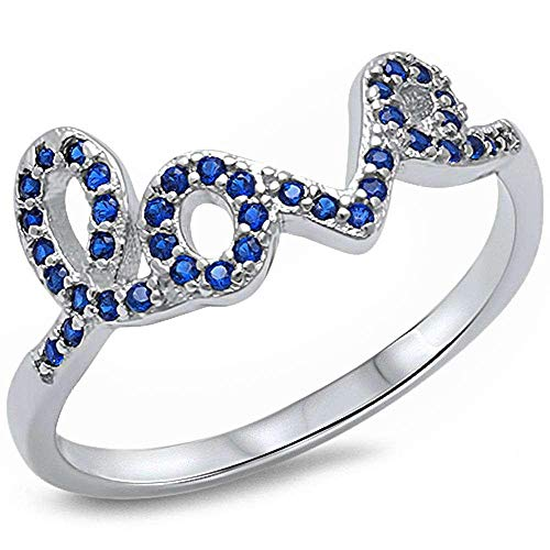 Zirconia Cubic Sapphire Jewelry (CloseoutWarehouse Simulated Sapphire Cubic Zirconia Love in Script Ring Sterling Silver Size 10 Size 6)