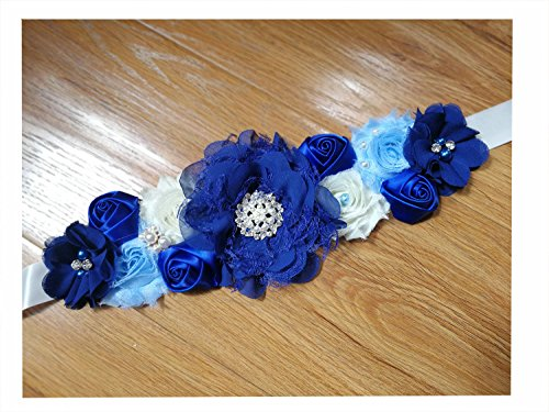 Pregnancy sash maternity sash belt with flowers for baby shower (Royal Blue)