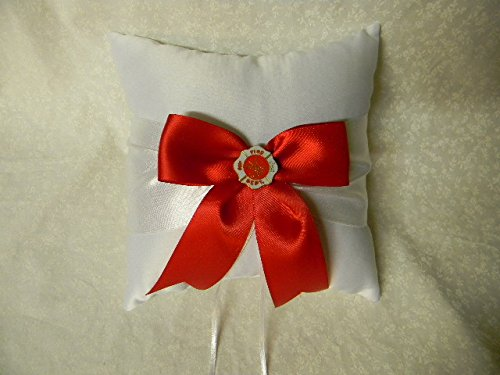 Wedding Party Ceremony Fireman Firefighter Big Red Bow Ring Bearer Pillow