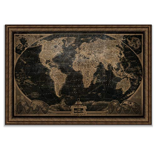 World Travel Map Wall Art Collection Executive National Geographic World Travel Map Fine Giclee Prints Framed Wall Art with Push Pin, Ready to Hang, 26X40, Black Vintage with Bronze