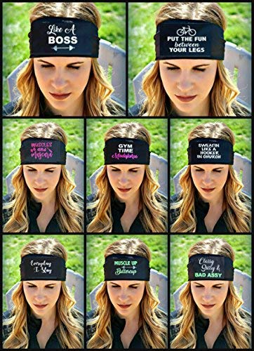 RAVEbandz! New & Improved in 2018 PRO SLOGANZ Women's Wide Stretch Fashion Headbands - Non-Slip, Maxi Dri Moisture-Wicking Premium Fabric   Great for Sports and Fitness