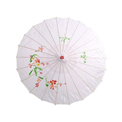 BESTOYARD Traditional Chinese Japanese Umbrella Parasol for Wedding, Bridesmaids, Cosplay, Summer Sun Shade (White)