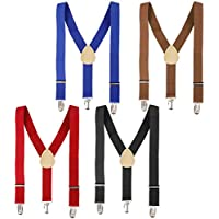 Bundle Monster 4PC Easy Clip-On Y-Back Suspenders w/Clips for Kids & Toddlers