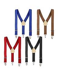 "Bundle Monster Classic Skinny Braces Y-Back Unisex Adjustable Clip On 1"" Wide Suspenders - Set C"