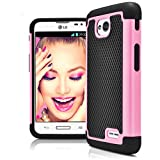 LG L70 Case, LG Optimus Exceed 2 Case, MagicMobile [Dual Armor Series] Hybrid Impact Resistant LG L70 Shockproof Case Hard Plastic + Silicone Protective Cover for LG Optimus Realm [Black/Light Pink]