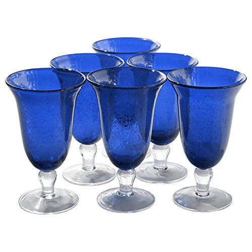 Artland Iris Seeded Cobalt 18 Ounce Footed Iced Tea Glass, Set of 6