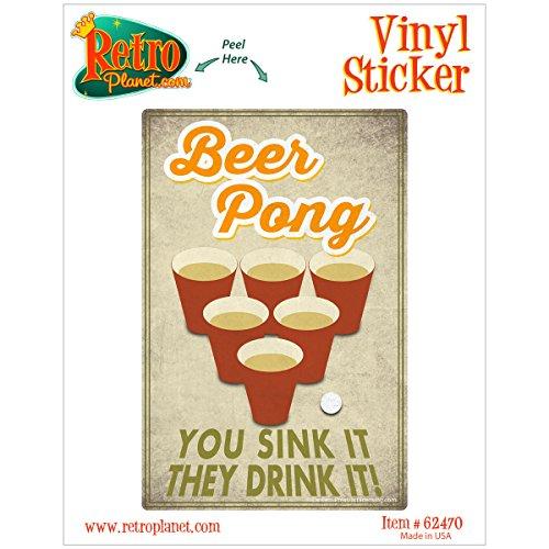 Beer Pong Sink Drink (Beer Pong You Sink They Drink Laptop Bumper Vinyl)
