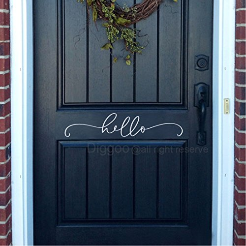 "Diggoo Hello Decal Farmhouse Decor Hello Wall Decal Front Door Vinyl Lettering Country Cottage Decor (White,3"" h x 14"" w)"