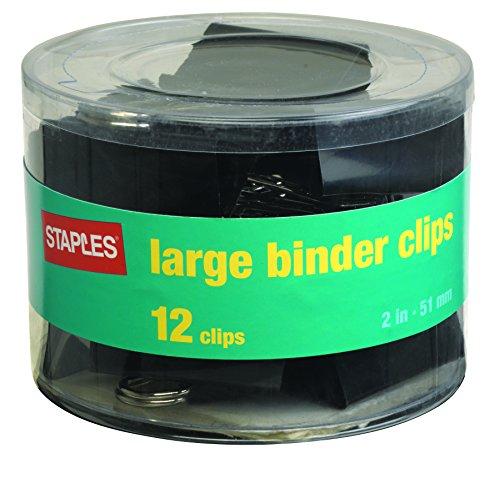 [Staples; Large Metal Binder Clips, Black, 2