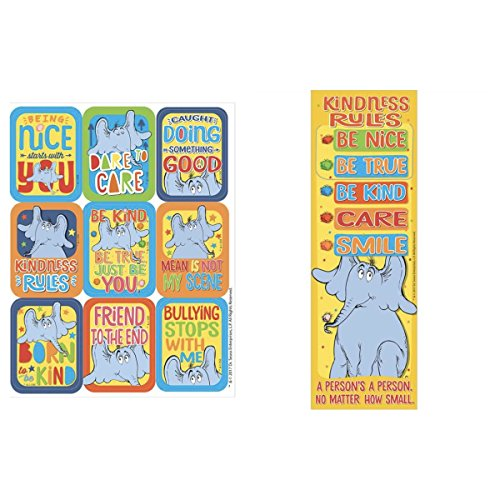 Dr Seuss HORTON Hears a Who KINDNESS - 36 Bookmarks 36 STICKERS Friendship - Classroom TEACHER Reading Rewards - BE NICE Kind FRIENDS No Bullying ()