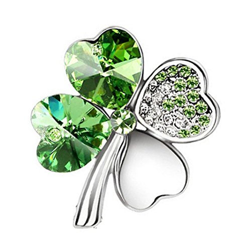 Freedi Womens Brooches and Pin 4 Leaf Clover Rhinestone Brooch Olive - Leaf Rhinestone Pin Brooch