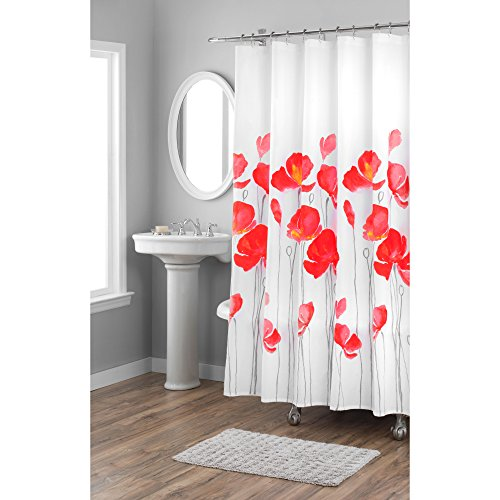 Home Dynamix Nicole Miller Red Petunia 100% Cotton Fabric Shower Curtain, Standard 72
