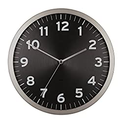 Umbra Anytime 12 Inch Wall Clock, Modern Wall Clock, Silent, Non-Ticking, Quartz Battery Operated, Easy to Read Home/Office/School Clock, Black, 1005476-040