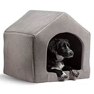 """PAWZ Road 2-in-1 Dog House Cat Bed Pet Sofa-Waterproof and Skid-Free Base Grey 15""""x 13.4""""x 13.8"""""""
