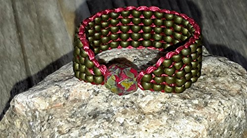 Focal Faceted Bead - Czech Picasso Firepolished Faceted Glass Focal Bead Ring with Olive Green Red Seed Bead Band Size 8.5 -9