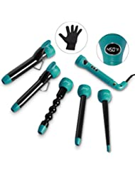 Curling Iron and Wand Interchangeable Set - 5in1 with...