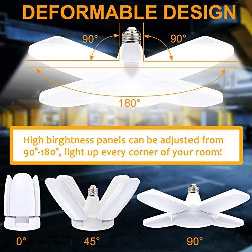 LED Garage Light 60W Deformable E27 with Edison Screw ES Base, Super Bright Daylight Lamp, Folding Workshop Lighting for Loft, Warehouse, Basement, Barn, Yard, Factory, Porch, High Bay, Office Ceiling