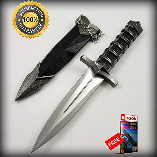 11.5'' Double Edge Medieval Knight Bodyguard Dagger with Ornate Scabbard Combat Tactical Knife + eBOOK by Moon Knives