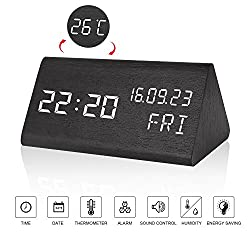 LED Digital Wood Alarm Clock - Voice Control Electronic Clock - Displays Time Date Week Calendar and Temperature - 3 Levels Brightness - Batteries or USB Charger - Triangle Travel Alarm Clock - Black