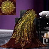 smallbeefly Mandala Super Soft Lightweight Blanket Ornamental Snowflake Floral Ethnic Traditional Arabian Oriental Graphic Artwork Oversized Travel Throw Cover Blanket 90''x70'' Yellow Brown