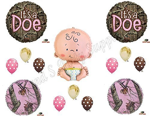 IT'S A DOE CAMOUFLAGE BABY GIRL SHOWER Balloons Decoration Supplies Mossy Oak by Anagram]()