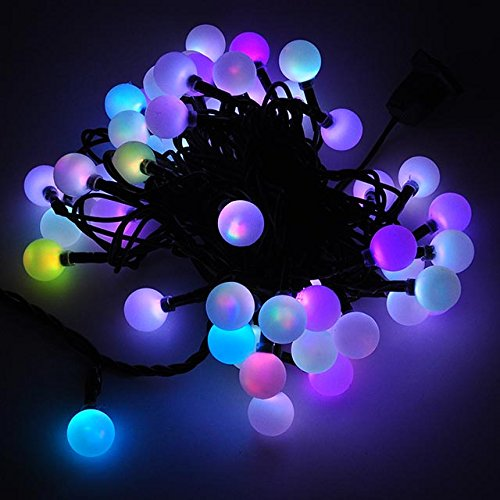 led color changing linkable 16 feet christmas light string with 50 rgb globes x070rgb. Black Bedroom Furniture Sets. Home Design Ideas