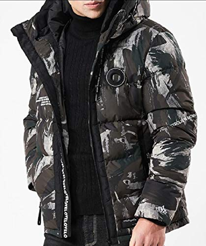 security Men Long Sleeve Thicken Warm Winter Hooded Down Jacket Coat 2