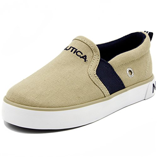 Nautica Fairwater Toddler Canvas Sneaker Slip-On Casual Shoes-Boathouse Brown-9
