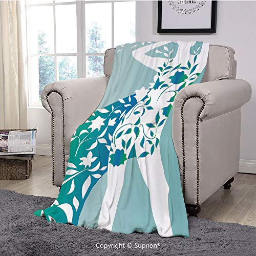 BeeMeng Throw Blanket/Super Soft Fuzzy Light Blanket,Floral,Fashion Woman Girl Body with Flower Petal Leaves Modern Design Model Image Decorative,Turquoise Teal White(51