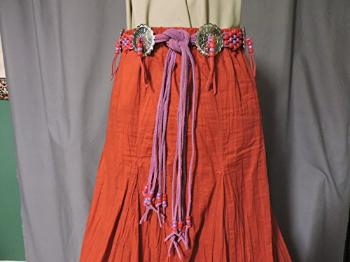 Western Belt - Red and Purple Beads on Purple Suede Lacing with Conchos (WB6): For waist 31-43 inches