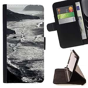 Momo Phone Case / Flip Funda de Cuero Case Cover - Waves Beach Montañas Negro - LG G3