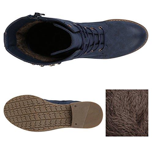 Blockabsatz mit Damen Stiefelparadies Dunkelblau Carlet Profilsohle Flandell Nieten Schnürstiefeletten qtpaxpO