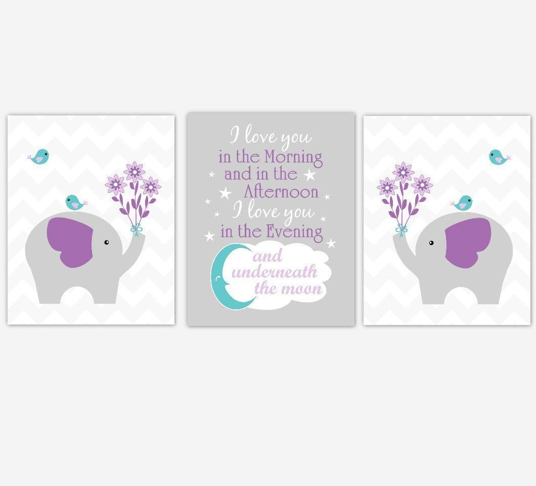 Baby Girl Nursery Wall Art Elephant Purple Teal Aqua Chevron Birds I Love You In the Morning Quote Baby Nursery Decor SET OF 3 UNFRAMED PRINTS