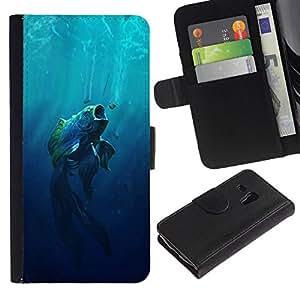 NEECELL GIFT forCITY // Billetera de cuero Caso Cubierta de protección Carcasa / Leather Wallet Case for Samsung Galaxy S3 MINI 8190 // Boca grande Fish