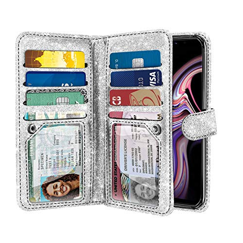 NEXTKIN Case Compatible with Samsung Galaxy Note 9 6.3 inch, Sparkling Glitter Dual Wallet Folio TPU Cover, 2 Pockets Double Flap, Multi Card Slots Snap Button Strap for Galaxy Note 9 - Silver