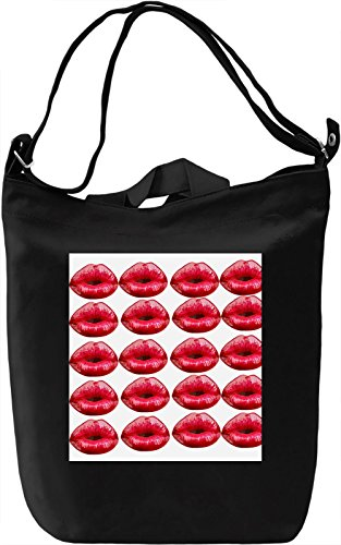 Kissing Lips Print Borsa Giornaliera Canvas Canvas Day Bag| 100% Premium Cotton Canvas| DTG Printing|
