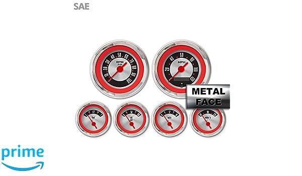 Red Ring Face, Red Vintage Needles, Chrome Bezels Aurora Instruments 4074 American Retro Rodder 6-Gauge Set