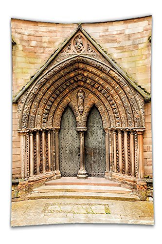 Sale Costumes Uk For Furries (Beshowereb Fleece Throw Blanket Decor Set Medieval Middle Age Cathedral Door Exit with Gothic Ornate FeatureGreat Britain Uk Theme Bathroom Accessorie Extralong)