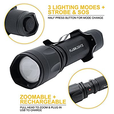 FlashlightZ Beacon Ultra Bright Rechargeable LED Tactical, Super Bundle with Adjustable Focus, Rechargeable Lithium Battery, Charge Cord, USB Car Plus Wall Adapter and USB Light, 1000 lm