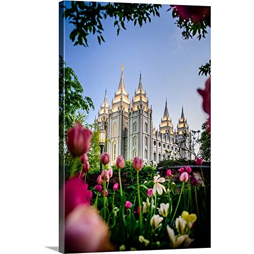 Salt Lake Temple with Tulips, Salt Lake City, Utah Canvas Wall Art Print, 16