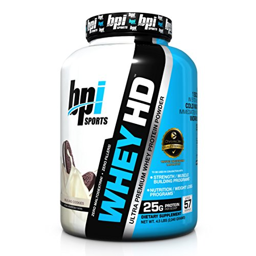 BPI Sports Whey-HD Ultra Premium Whey Protein Powder, Milk & Cookies, 4.98 Pound