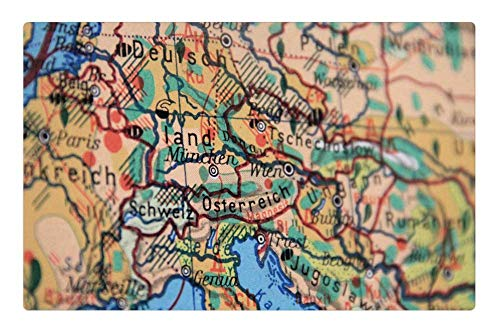 Indoor Floor Rug/Mat (23.6 x 15.7 Inch) - Map Germany Europe Borders Land Travel Geography