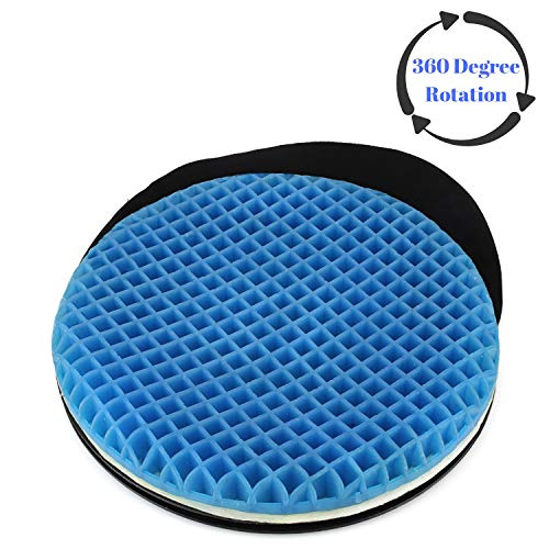 FOMI Premium Firm Swivel Gel Seat Cushion | 360 Degree Rotation | Round Thick Disc Pad for Home or Office Chair, Wheelchair, Boat, Stool | Pressure Sore Relief, Prevents Sweaty ()