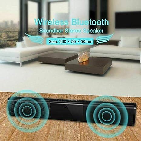 DishyKooker Inalámbrico Blue-Tooth Barra de Sonido Sistema de Altavoces TV Cine en casa Barra de Sonido Subwoofer 2 Habla Conductor