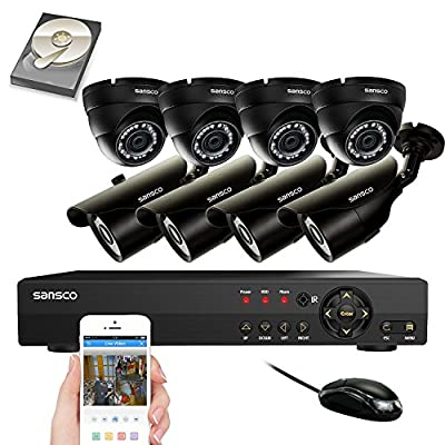 SANSCO CCTV Security Camera System with 8-Channel 1080N DVR, 8 Cameras (All HD 720p 1MP), and 2TB Internal Hard Drive Disk - All-in-One Surveillance Camera Kit from SANSCO