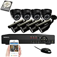 SANSCO Security Camera System with 8-Channel 1080N DVR, 4 Bullet Cameras and 4 Dome Cameras (All HD 720p 1MP), and 2TB Internal Hard Drive Disk - All-in-One Video Surveillance Kit