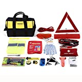 Mofeez Portable Roadside Assistance Auto Emergency Kit + First Aid Kit – Rugged Tool Bag - Contains Jumper Cables, tools, Reflective Safety Triangle and more.