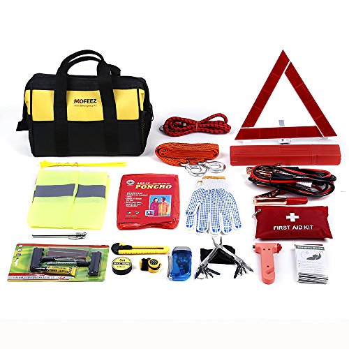Mofeez Portable Roadside Assistance Auto Emergency Kit + First Aid Kit  Rugged Tool Bag - Contains Jumper Cables, tools, Reflective Safety Triangle and more.