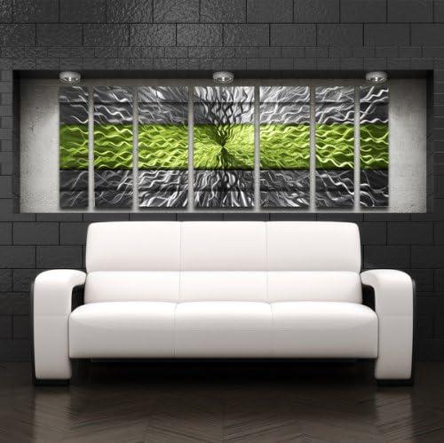 Green Metal Wall Art Panels Modern Contemporary Abstract Metal Wall Sculpture Art Work Painting Home D cor Rhythmic Energy, Black, Green, Silver Silver Wall Art