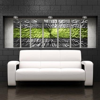 Amazon.com: Green Metal Wall Art Panels Modern Contemporary Abstract ...